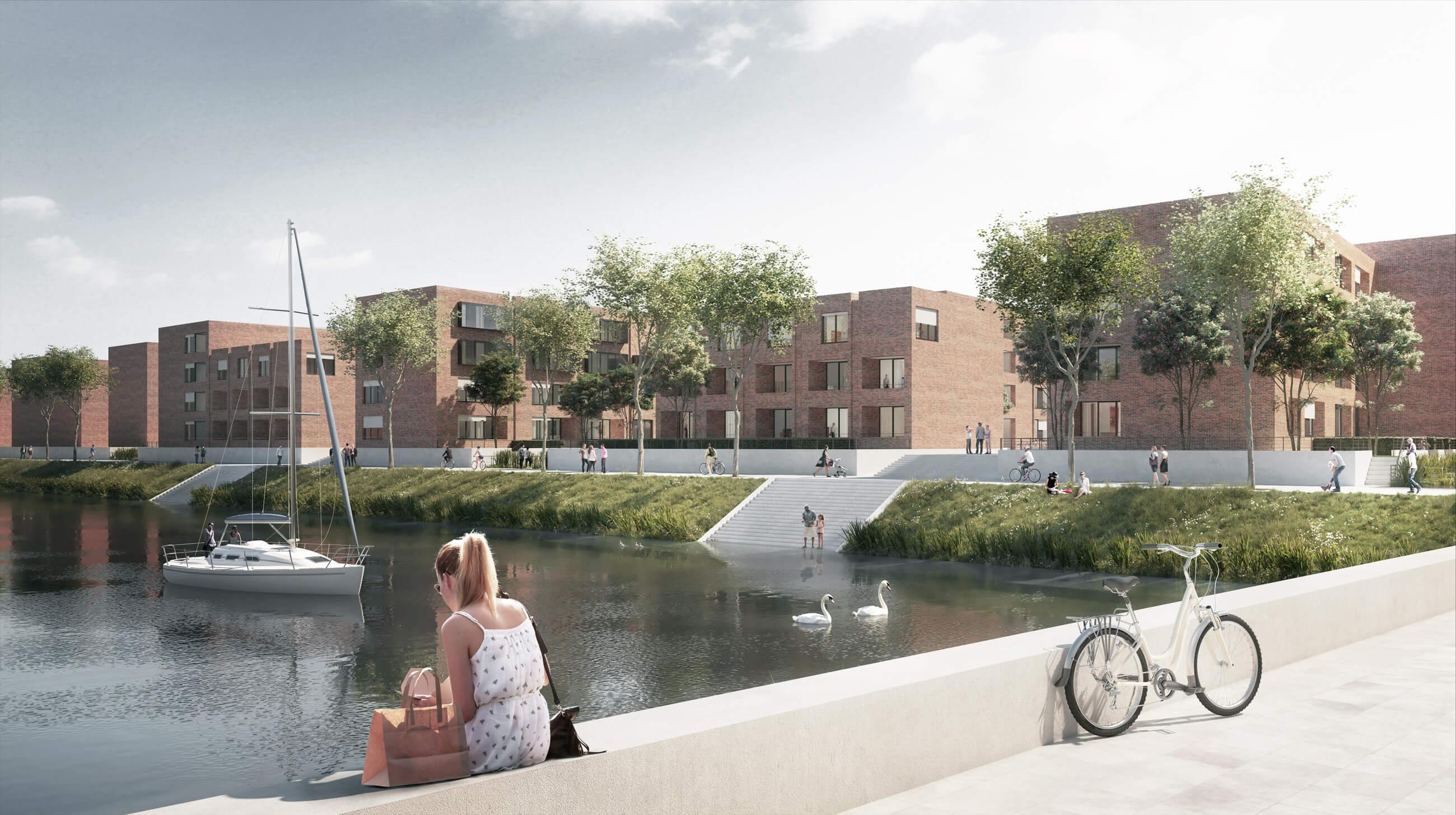 Wohnen und Gerwerbe auf den Hafeninseln IV und V im Stadtquartier Zollhafen Mainz für Hafeninsel V